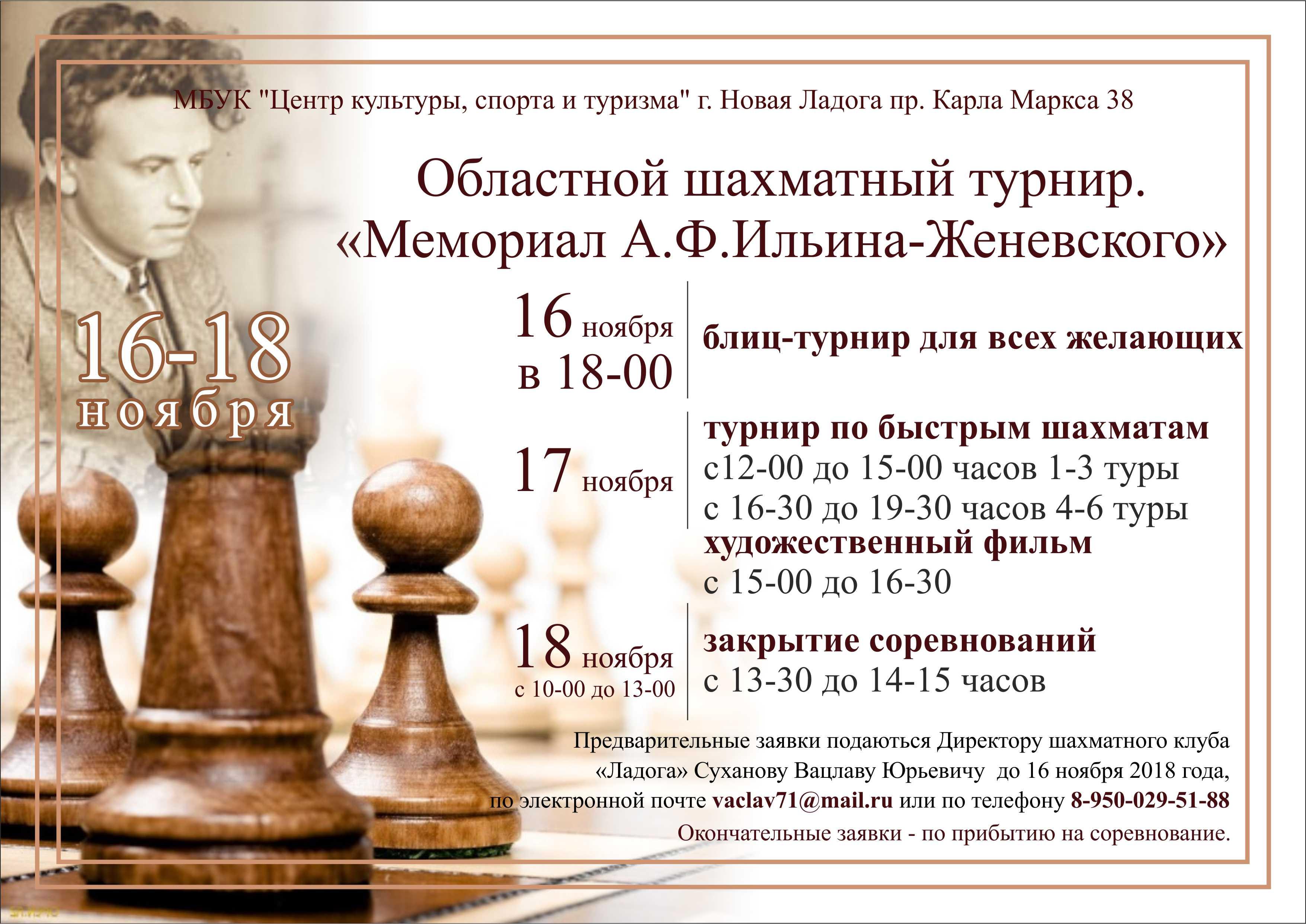 Областной шахматный турнир мемориала А.Ф. Ильина-Женевского